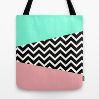 Pastel Chevron Tiffany Rose 80's Pattern Tote Bag by RexLambo
