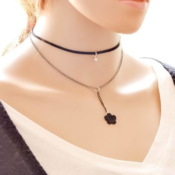 Jewelry Gift  Korean Stylish forever21 Lace Simple Design Vintage Layer Choker [7786509895]