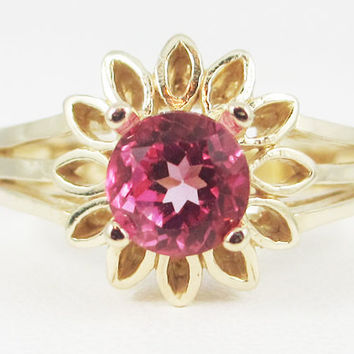 Pink Topaz 14k Yellow Gold Sunflower Ring, Solid 14 Karat Gold Ring, 14k Gold Sunflower Ring, Pink Topaz Sunflower Ring, Engagement Ring