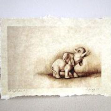 elephant signed parchment print by TheHauntedHollowTree on Etsy