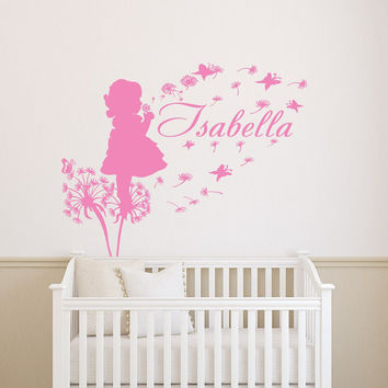 Dandelion Wall Decals Flower Butterflies Personalized Decal Girl Name Vinyl Stickers Kids Nursery Home Bedroom Decor  T124