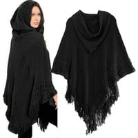 Hooded Batwing Sleeve Poncho Cape Sweater