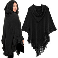 WJ Women Knit Batwing Top Poncho With Hood Cape Cardigan Coat Sweater Outwear