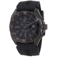 U.S. Marine Corps WA136 Men's Armor Swiss Black Dial Silicone Strap Black IP Steel Dive Watch