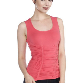 LAST TANGO Rouched Scoop Neck Tank -Coral Fusion