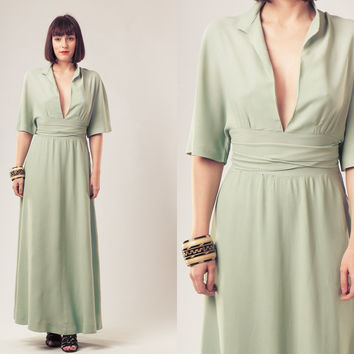 70s Mint Maxi Dress / V Neck Wrapped Gown / Pastel Green Long Dress