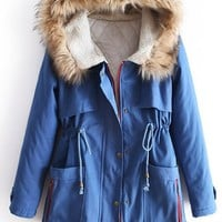 Blue Fur Hooded Long Sleeve Drawstring Cotton Coat | CozBest:lastest womens fashion clothing,shoes,dresses shop online