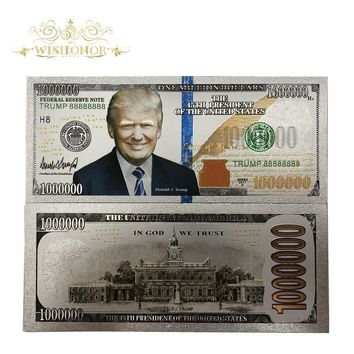 Hot Sales 10Pcs/Lot Silver USA Trump Banknotes 1Million Dollar Bills Banknote in 24K Gold Silver Plated Paper Money For Gifts