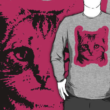 cat with pink outline crew neck