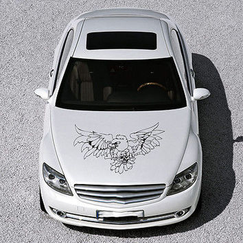 EAGLE BIRD WINGS SKULL DESIGN HOOD CAR VINYL STICKER DECALS ART MURALS SV1473