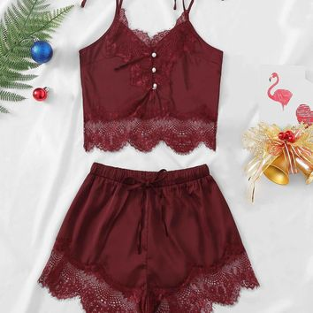 Christmas Contrast Lace Cami Top & Shorts With Thong