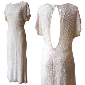 Vintage Oleg Cassini White Beaded Dress | Women's Size 6 | Open Back, 1920s 20s Style Wedding Dress