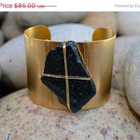 Christmas in July Sale LUX Raw Gemstone Specular Hematite Cuff Festival Jewelry Gypsy Bohemian Earthy Goddess Woman Wire Wrapped Gemstone C