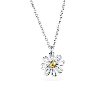 Daisy Flower Pendant Charm Necklace 14K Gold Plated Sterling Silver