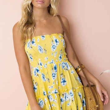 Summer Festival Yellow Floral Pattern Strapless Smocked Ruffle Empire Waist Casual Mini Dress