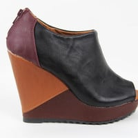 Black Multi Color Faux Leather Wedge