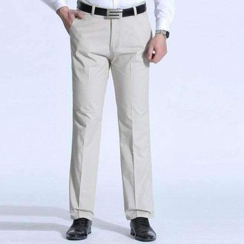 DCCKON3 1519 plus size 38 40 middle aged dad casual business pants men straight trousers loose cotton polyester