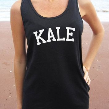 KALE Letters Print Women Tank Top Summer Vest t Shirt For Lady Cotton Camisole Tee Funny Hipster Black Drop Ship B-33