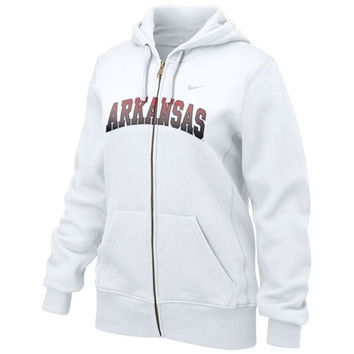Nike Arkansas Razorbacks Ladies White Seasonal Full Zip Hoodie Sweatshirt