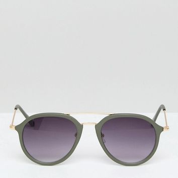 AJ Morgan Olive Round Sunglasses With Gold Brow Bar at asos.com
