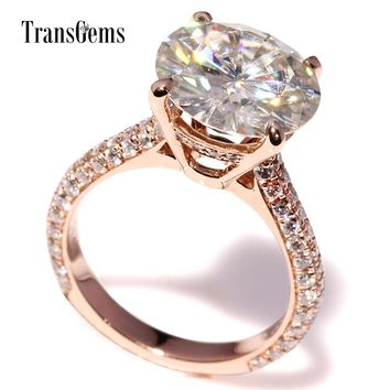 Certified Round Brilliant 2 Carat Moissanite Ring For Women Engagement Pure 14K Solid White Gold Diamond Accent G14K Stamped