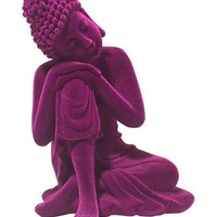 Purple Boho Buddha Velvet Décor Figurine