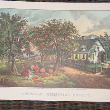 Currier and Ives-Currier and Ives Prints-set of 4-American Homestead-Four Seasons-Spring-Summer-Autumn-Winter-8x10-Vintage Prints-Art Prints