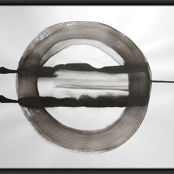 "A2 Zen OOAK Black and White Ink Wash Painting 16.5x23.4 "" Wheel of Fortune 236"""