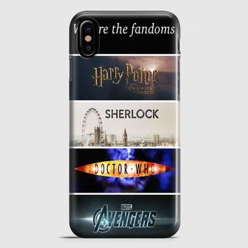 Fandoms Harry Potter Sherlock Doctor Who Avengers iPhone X Case