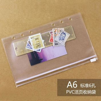 A6  PVC Transparent File Small Things Keeper for 6 Holes Loose Leaf Spiral Binder Notebook Planner Agenda Filofax