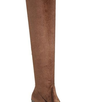 Ladies fashion suede craftsmanship lends textural richness to the tall boot, knee-high boot, closed round toe, block heel.