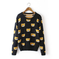 Korean Lovely Cartoons Knit Tops Winter Cotton Sweater Jacket [8216430337]