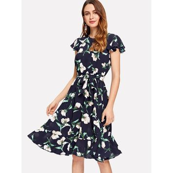 Multicolor Flutter Sleeve Self Belted Ruffle Hem Dress