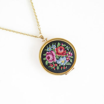 AVON Floral Petit Point Embroidery Locket Necklace
