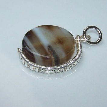 Minimalist Wire Wrapped Pendant With Natural Stripped Black Agate And Silver Plated Wire, Stone Setting