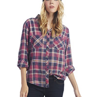 89 Roll-Sleeve Plaid Shirt | Wet Seal
