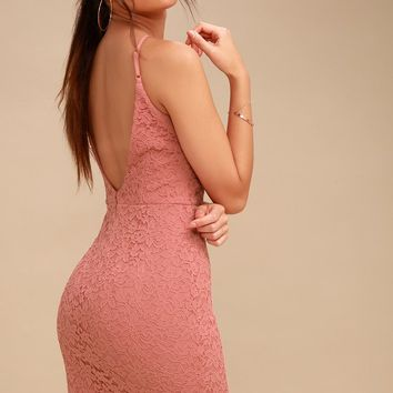 Magic of Love Rusty Rose Lace Bodycon Dress