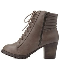 Gray Block Heel Quilted Lace-Up Booties by Charlotte Russe