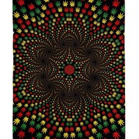 Handmade 100% Cotton 3D Weed Vortex Rasta Tapestry Tablecloth Beach Sheet 60x90