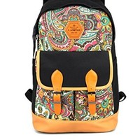 Canvas Bookbag Daypack Backpack Laptop Bag for School College Teens Girls Boys Students, Pattern B