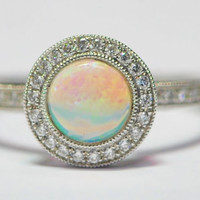 14K White Gold Opal and Diamond Ring by EtsyJewelryStore
