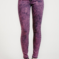 "10"" High Rise Wine Acid Wash Denim By Just USA"
