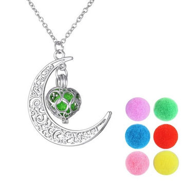 Aromatherapy Fragrance Diffuser Crescent Moon & Heart Locket Pendant Necklace