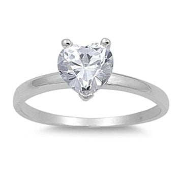 2 Carat Heart Shaped Cubic Zirconia Sterling Silver Solitaire Engagement Ring