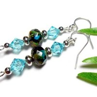 Earrings Crystal Aqua Teal Picasso Handmade Beaded Fashion Jewelry