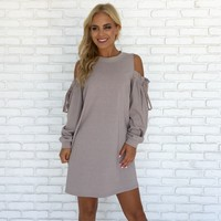 Of The Essence Sweater Dress in Taupe