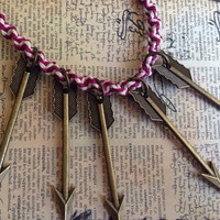 Necklace- Magenta and White Hemp Cord Choker with Five Gold Colored Arrows