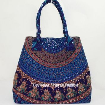 Blue Elephants Medallion Circle Boho Beach Tote Bag for Women on RoyalFurnish.com