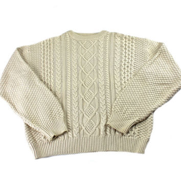 8ac83b7be Vintage 1990s 90s Cable Knit Sweater Cream Dapper Menswear Mens