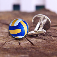 beach volleyball, volleyball cufflinks, volleyball cuff links, custom team cufflinks, custom wedding gifts, groom cufflinks, tie clip or set